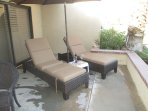 RELAX ON THE PATIO WHICH OVERLOOKS THE 18TH FAIRWAY, LAKE AND  CLUB HOUSE