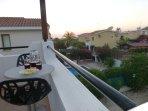 Enjoying the sunset from the balcony.