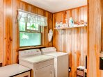 In-unit washer and dryer for your convenience located upstairs