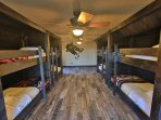 Optional bunk room sleeps an additional 10 people-  built-in all wood bunkbeds, 4 on left 6 on right
