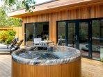 Luxury hot tub on south facing sun deck