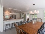 Dining Area and Breakfast Bar Open to Screened Porch