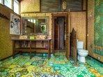Villa: Indoor, outdoor bathroom with Javanese tile floor.