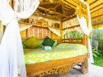 Mermaid: Open pavilion style, with curtains and bamboo blinds for privacy.