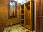 Villa:  Dressing room bamboo and teak cupboards, full length mirror.