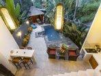 Bali AkasaDua Villa pool, bar, dining, kitchen, gazebo in private courtyard.