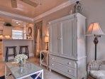 Living Room cabinet has large flatscreen TV