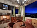 Awesome views from the kitchen balcony with fireplace,outdoor grill, TV