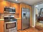 Kitchen is filled with all new stainless steel appliances