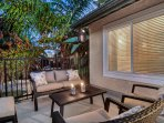Outdoor deck has plenty of space for relaxing in the sun or shade.