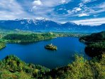 Lake Bled (6 km) a short drive from the apartment.  Frequent local bus service at the end of road.