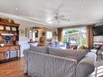 The living room radiates coastal charm.