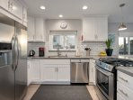 Remodeled kitchen includes all new appliances.