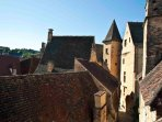 A room with a view - of the rooftops and chimney pots of Old Sarlat.