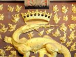 The salamander is the emblem of Sarlat, granted as an honor by the king for its stedfast loyalty to