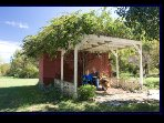Wisteria arbor with porch swing is a shaded hideaway.