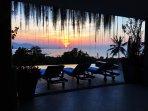 Poolside sunset