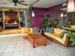 Poolside lounge outside Bedroom 3