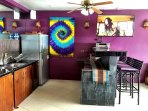 Outdoor kitchenette and bar with flat screen TV - Pool level