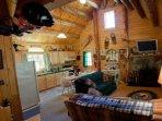 Kitchen  Living Room -Log Cabin in Rum Ridge