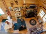 Living room  Dining -Log Cabin in Rum Ridge