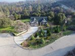 A drone shot of the property taken by a previous guest