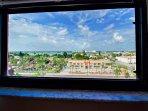 Guest bedroom views across beach community to intracoastal waterway