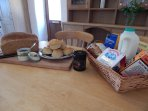 Our welcome basket is stocked with Cornish goodies