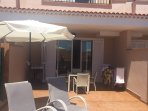 West facing large patio with sun all day and shade as required. luxury sun loungers!
