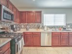 The fully equipped kitchen has everything you need to create delicious concoctions.