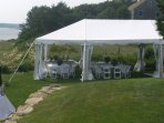 Outside wedding tent