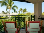 The master suite's private lanai with views over the golf course and western sky.