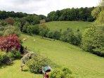 The cottage enjoys fine views across open pastures