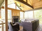 Covered Deck with Gas Fireplace