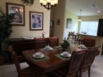Large dining room table seats 6.  Kitchen eat in area with granite top table.