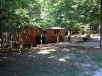 16 acre wooded yard has gas grill, picnic table, firepit, hammock, rocking chairs and DBNF access!