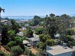 Bird's eye view of neighborhood plus San Diego Harbor