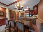 For a perfect evening in, a formal dining area with comfortable seating for seven (7), is situated just off the kitchen.