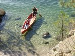 Our 17 ft canoe can carry 2 adults and 2 children.