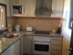 Fully equipped including dishwasher and washing machine. Sea views while you cook!