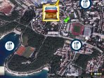 location, beach, restaurants, grocery, map