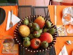 English passion, maracuja and tomato fruits from garden; yours to enjoy for free when in season