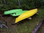 Kayak's and paddle board lakeside