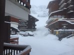 View from the balcony to the piste - January 2016