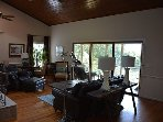 Living room showing sliding doors to porch