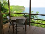 The amazing view from the Hummingbird Hangout over Roseau Bay on the West Coast of Saint Lucia