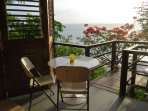 Breakfast with a view! The balcony and steps leading to the sundeck