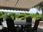 Private patio with view, bar-b-que and awning