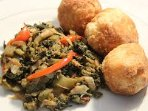 Callaloo and fried dumpling