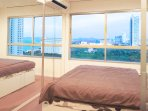 Comfortable king size bed, mirror wall, sea view